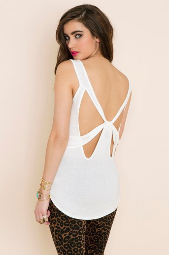 Bow Down Tank - Ivory in  What's New at Nasty Gal