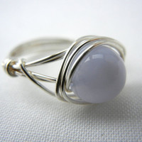 Wire Wrapped Jewelry Handmade, Blue Lace Agate Ring, Wire Wrap Ring, Blue Agate Ring, Agate Ring, Lace Agate Jewelry