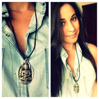 Buddha Necklace. Buddha pendant. Statement Jewelry.