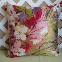 Water Colors Floral Pillow Cover Shades of Purple Rose Pink and Green