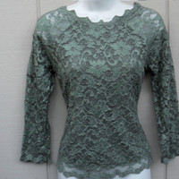 Moss Green Lace Blouse with Scalloped Boat Neckline by ZoeAmaris