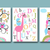 "Childrens Art, Kids Wall Art, Baby Girl Room Decor Baby Girl Nursery Decor kids art print set of 3 8""x10"" Prints owls giraffe alphabet rose"