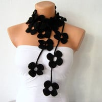 Hand Crochet Black Flower Lariat Scarf by fairstore on Etsy
