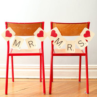 SCRABBLE Mr & Mrs Wedding Chair Banners  by PurplePeonyCouture