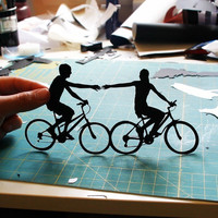Couple on Bikes Bicycle Silhouette As Seen in by papercutsbyjoe