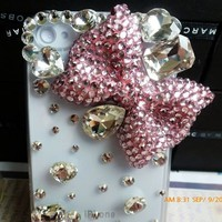 3D Clear Luxury Bling Crystal Rhinestone Pink Bow For iPhone 4 4S Case Cover