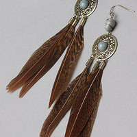 The Feather Drop Earring in Brown : *Accessories Boutique : karmaloop.com - Global Concrete Culture