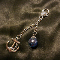 Shattered Blue Marble Anchor Chain Charm Nautical by KatieDidsx3