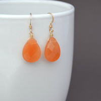 Carnelian Earrings Orange Earrings Gold Filled by BelleReveDesigns