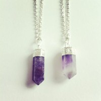 Empty Casket   Amethyst Crystal Point necklace