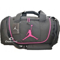 Nike Air Jordan Black and Pink Duffel Bag 9A1498-343 at OrlandoTrend.com
