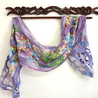 Floral Scarf Wool and Chiffon Scarf Womens Spring by sesenarts