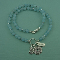 Blue Jade Manadala Charm Necklace - sterling silver gemstone jewelry - buddha - namaste