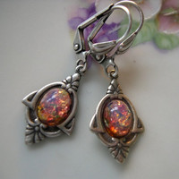 Earrings Antiqued Silver Fire Opal Vintage by ShadowMoonDesigns