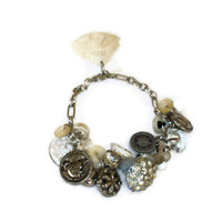 Vintage Glass Rhinestone and Mother of Pearl Button Bracelet