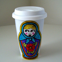Ceramic Travel Mug Russian Dolls Matryoshka Folk Eco by sewZinski