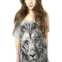 Lion print slouchy tunic One Size