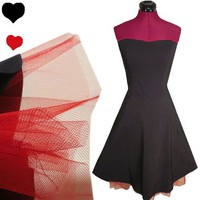 RED Tulle Petticoat Black Strapless PARTY Prom Dress S M Rockabilly 50s PINUP