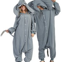 Funsies Peanut Elephant Fleece Jumpsuit Costume Adult