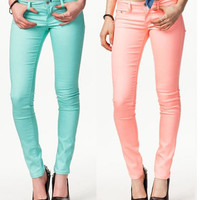 CANDY COLOR PASTEL MINT JEGGINGS STRETCH JEAN PANTS SKINNY SOFT KNIT CASUAL NEW