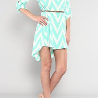 Aqua & White Chevron Print Hi-Low w/Belt Spring & Summer Dress Womans Large NWT