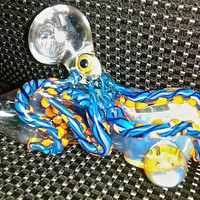 Hand Blown Glass Pipe Latticinio Blue Ringed by MadHazardsGlass