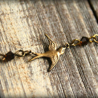 Brass Flying Sparrow Necklace by saffronandsaege on Etsy