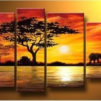 Hand Painted Abstract Wall DECOR Art Set Oil Paintings Tree(NO Framed)F-30