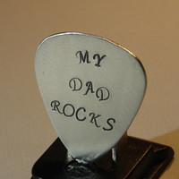 Guitar Pick My Dad Rocks Handmade from Aluminum by NiciLaskin
