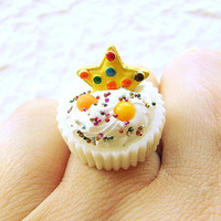 Kawaii Ring Miniature Food Jewelry  Vanilla Cup Vanilla Ice Cream Cookie