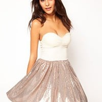 Love Bandeau Sequin Chiffon Skater Dress at asos.com