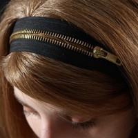 $25.00 Zipper headband  2 ways headband black with gold by SchickiMickis