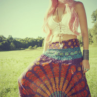 Handmade Harem Pants, Sunset Gypsy Yoga Pants, Wide leg