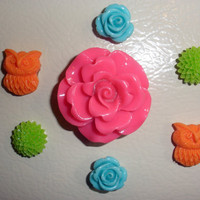 Neon Pink orange green aqua Flower Magnet Set of 7 Magnets Pink home decor Refridgerator Mum Cabochon rose grey