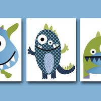 "Childrens Art Kids Wall Art Baby Boy Room Decor Baby Boy Nursery kids art Baby Nursery print set of 3 11"" x 14"" Prints monsters green blue"