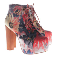 JEFFREY CAMPBELL  Lita Flower Patterned platform booties - Boots & Booties