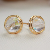 Czech glass gold plated stud earrings  nickel by collscreations