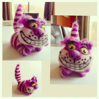 Needle Felted Miniature Wonderland Cheshire Cat Wool Art Needlefelt Felting