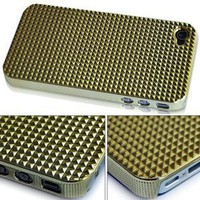 Triangle Chrome Hard Back Case Cover For Apple iPhone 4 4G AT&T Gold