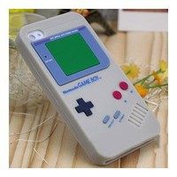 Old School Gray Silicone Gameboy Case for Iphone 4 &amp; 4S with 2 x Free Screen Protector