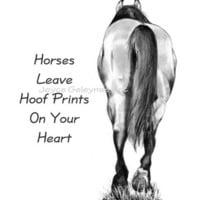 Pencil Drawing: Horses Leave Hoof Prints On Heart, Printable Image