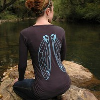 Cicada Wings earth coal organic cotton long by circlesandsquares