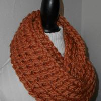Chunky Infinity Scarf Cowl Burnt Orange Pumpkin Ready to Ship