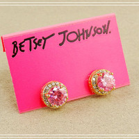 NEW BETSEY JOHNSON PINK ZIRCONIA STUD EARRINGS