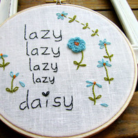 Hand Embroidery PDF Pattern Lazy Lazy Daisy Flowers | Luulla