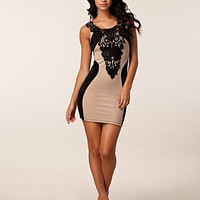 Tyra Lace Detail Dress, Dark Pink