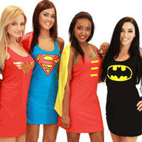 Juniors DC Comics Superman Wonder Woman Batman Robin Superhero Hero Tank Dress