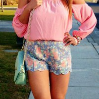 Lush Scalloped Floral Shorts