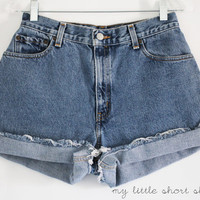 High Waisted Denim Levi's Shorts (W28)
