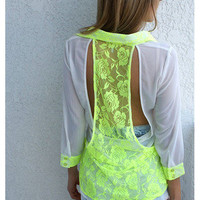 Neon Lace Back Top - Colors of Aurora